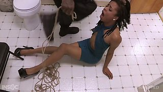 Appetizing gal Kira Noir was fucked in the public toilet by aggressive BBC