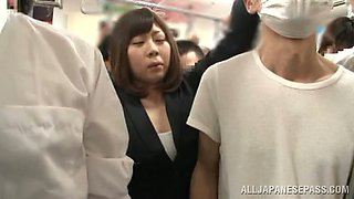 Busty Japanese milf gets abused in a bus and enjoys it