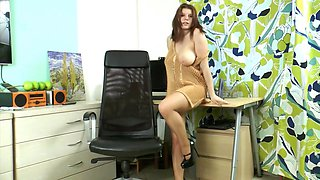 Busty secretary in tan shiny pantyhose