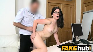 Fake Agent Tight amateur in glasses creampie