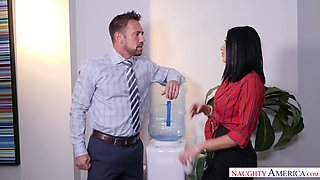 Sizzling co-worker Audrey Bitoni is having crazy quickie in the office