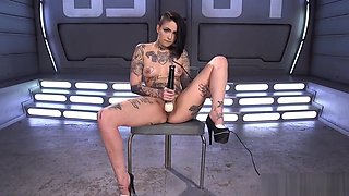 Solo Inked Babe Drilled By Dildo Machine