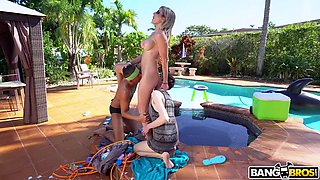 angry stepmom cory chase dominates stepson and his buddy in threeway