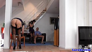 stockinged milf doggystyled in british trio segment