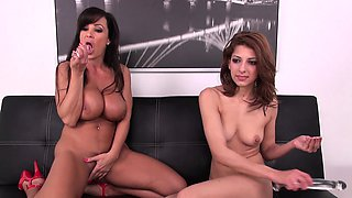 Busty milf Lisa seduces Lexi for a wild lesbian romance on the couch