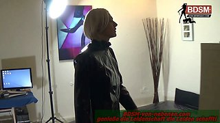 German crossdresser get anal plug in small amateur asshole during fetish session with domina