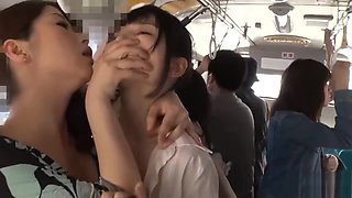 Japanese lesbian get Strapon on bus (HD-1080p)