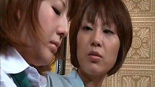 Horny lesbo Asian milf undressing an innocent schoolgirl
