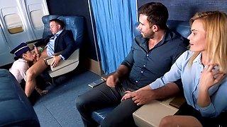 Bitch enjoys passenger's dick in flight mode