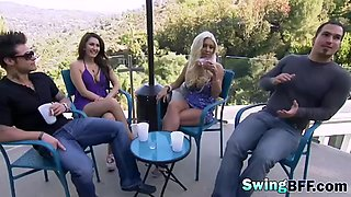 busty swinger babes can't resist to get their holes banged all day