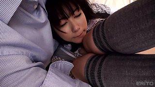cosplay schoolgirl spreads her legs for her man