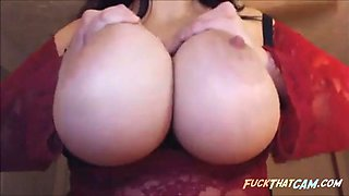 Sexy brunette shows her beautiful big natural tits