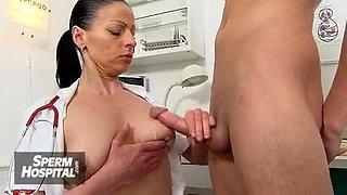 Medical CFNM handjob with Euro wife Beate