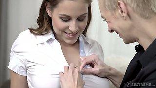 Short haired titless Belinda Bee lures busty lesbian for good fingering