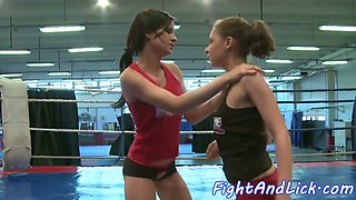 Wrestling babes pussytoying and assfingering