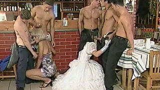 Brunette bride and her bridesmaid gets gangbanged before wedding