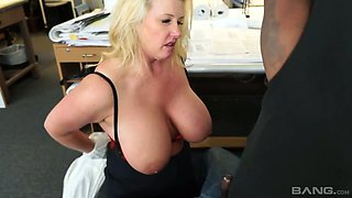 Big bottomed and big tittied office whore Zoey Andrews goes wild on a hard black penis