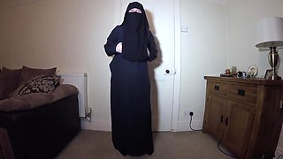 Muslim burqa dance and strip