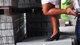 horny voyeur outdoor spray the nylon feet fuck