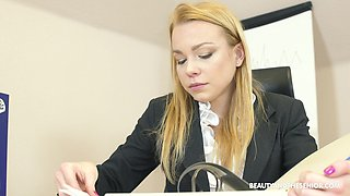 Secretary Rebecca Black blows her boss and swallows cum for a raise