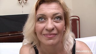 Slutty Blonde Grandma Takes Two Loads On Her Face - Mature'NDirty