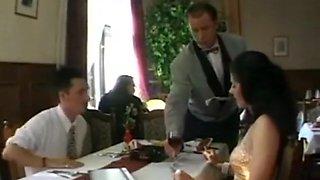Public Restaurant DP in satin dress