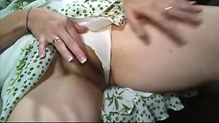 Beautiful aunt gets her pussy stretched by huge black dildo