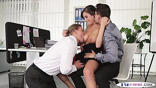 Bisexual office hunk cockrides in office trio