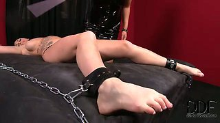 Brunette mistress is ready to play BDSM games with curvaceous milf
