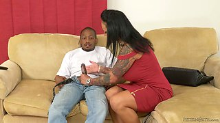 Fervent tattooed milf Ashton Blake seduces black friend of her stepson