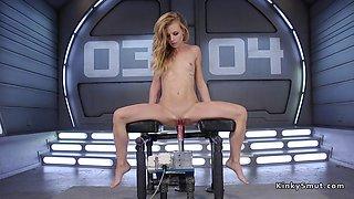 Skinny blonde solo fucks machine