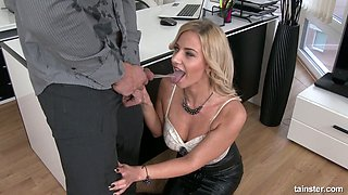Crazy clothed sex with sexy busty secretary Nathaly Cherie pissing on a dick