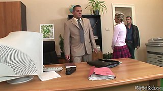 Cloe is a hot blonde always asked to attend the private meetings between her boss