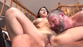Wife Shares a Cock With Her Husband and Makes Him Eat Cum