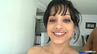 Cuban beauty with big tits is really good at giving blowjobs