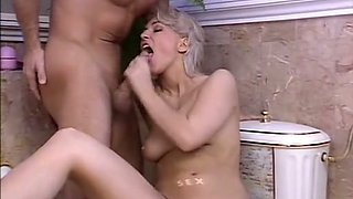 Stunning French blonde beauty in the bathroom having wild sex