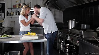 Cecilia De Lys lets a fellow penetrate her hole during a kitchen shag