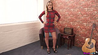 Awesome light haired gal Yasmin Grayce strips to play with titties