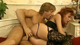 Insatiable redhead beauty in sexy lingerie gives amazing BJ