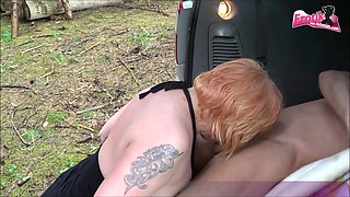 Fat chubby german mature fucks in car and outdoor with stranger