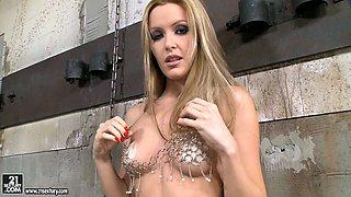 Sophie Moone in chained mini bikini giving a striptease show