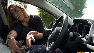 Cute blonde gives me nice handjob in public parking lot