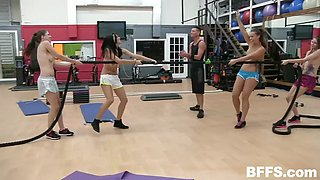 four fitness girls suck on coach's dick and working out naked