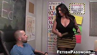 Teen tara angelina blows big dick with busty teacher