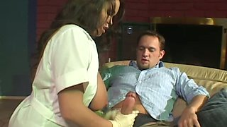 Heavily stacked nurse Brandy Talore works her BJ magic on her lover's dick